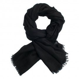 Black pashmina stole in 2 ply twill weave