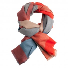 Large checkered pashmina shawl in red, blue, beige and grey