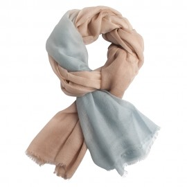 Two coloured shaeded pashmina shawl in blue and beige
