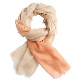 Two coloured shaded pashmina shawl in peach and cream