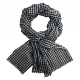 Checkered pashmina stole in grey and black