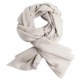 Light grey handwoven cashmere scarf