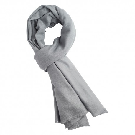 Light grey cashmere scarf in twill weave