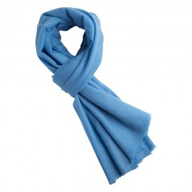Sky blue handwoven cashmere scarf