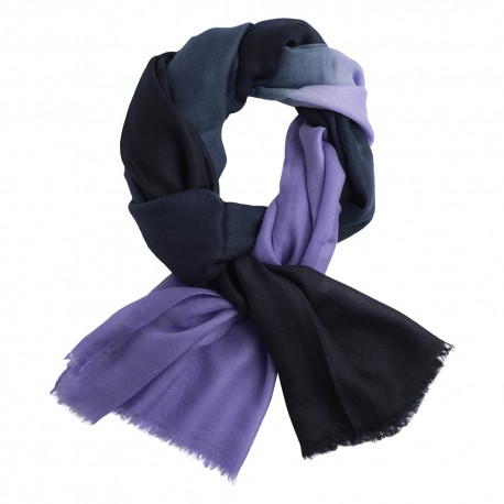 Shaded pashmina shawl in navy and lavender