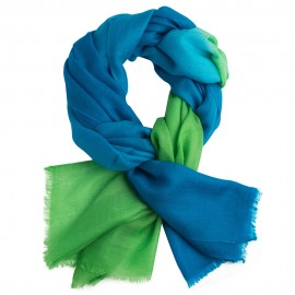 Shaded pashmina shawl in petrol blue and vibrant green