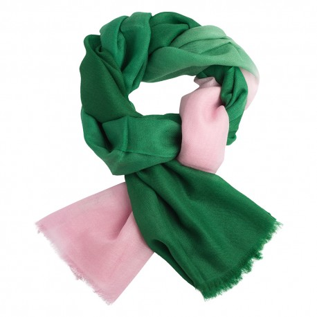 Shaded pashmina shawl in green and pink