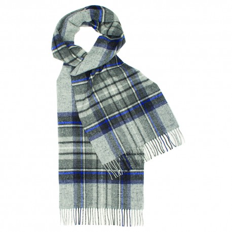 Grey tartan scarf with blue and white checkers
