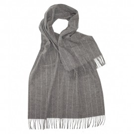 Large grey scarf with thin white stripes