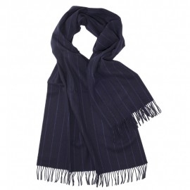 Large dark blue scarf with thin stripes