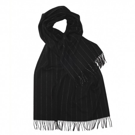 Large black scarf with thin white stripes