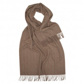 Large beige scarf with thin stripes