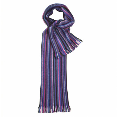 Striped scarf in blue and violet colours