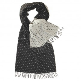 Double sided scarf with dots in grey and white