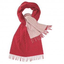 Double sided scarf with dots in red and white