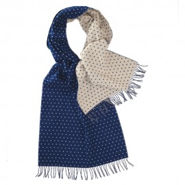 Double sided scarf with dots in blue and white