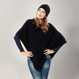 Black knitted poncho in pure cashmere