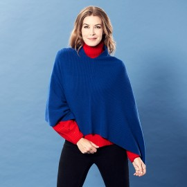 Dark blue knitted cashmere poncho