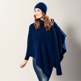 Blue flecked cashmere poncho