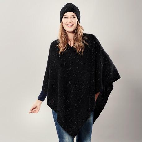 Black flecked cashmere poncho