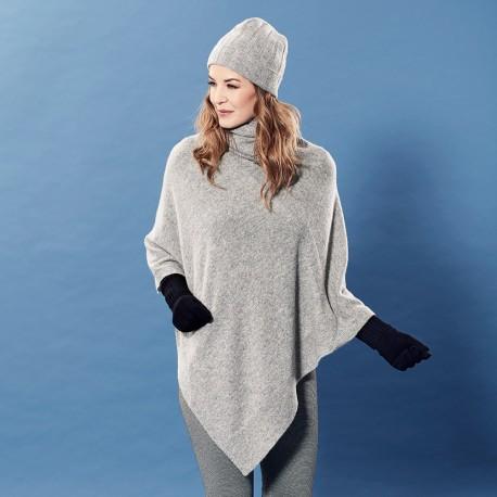Grey flecked cashmere poncho