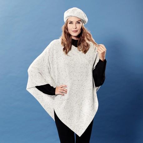 White flecked cashmere poncho