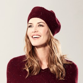 Burgundy flecked cashmere beret