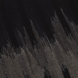 Ikat woven scarf in black/grey cashmere and wool