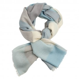 Checkered cashmere scarf in blue/grey/white