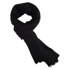 Black scarf in pure yak wool