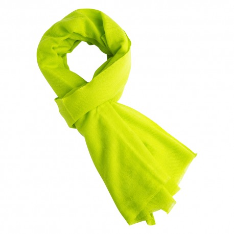 Lime green cashmere scarf in twill weave