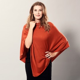 Orange poncho in silk/cashmere mix