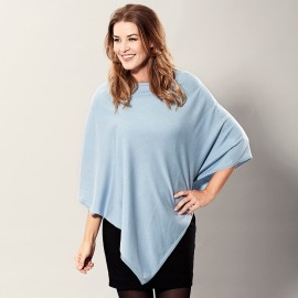 Light blue poncho in silk/cashmere mix