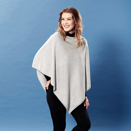 Light grey poncho in silk/cashmere mix