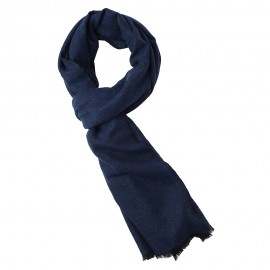 Cashmere scarf in blue/black melange