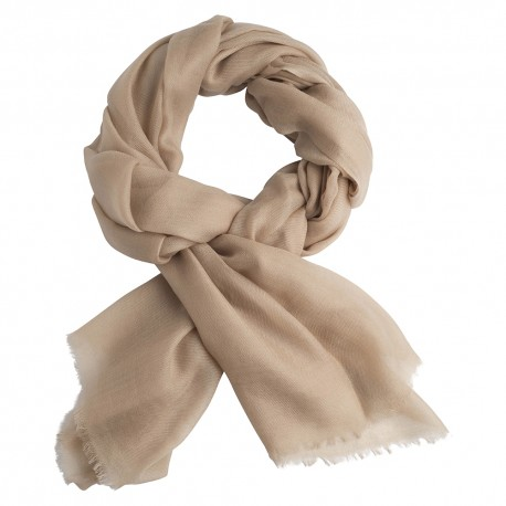 Sand coloured pashmina stole in 2 ply twill weave