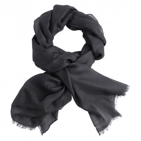 Charcoal pashmina stole in 2 ply twill weave