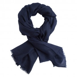 Navy pashmina stole in diamond weave