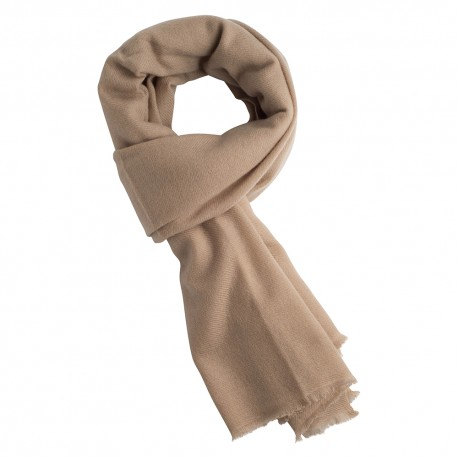 Sand coloured cashmere scarf in twill weave
