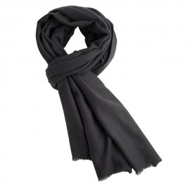 Charcoal cashmere scarf in twill weave