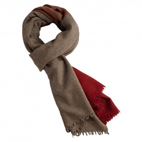 Two coloured yak scarf in natural brown/orange