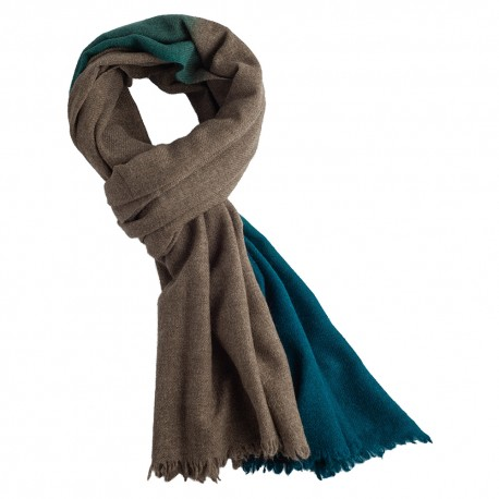 Two coloured yak scarf in natural brown/petrol