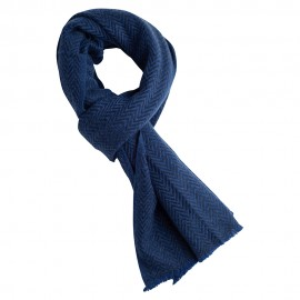 Blue herringbone scarf in cashmere and wool