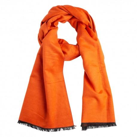 Orange silk stole in brushed silk