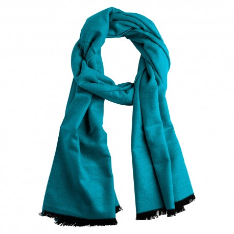 Petrol blue silk stole in brushed silk