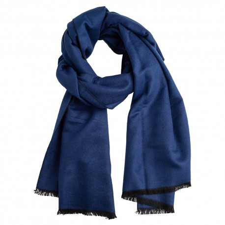 Navy blue silk stole in brushed silk