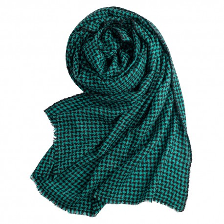 Cashmere shawl in turquoise/black houndstooth