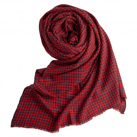 Cashmere shawl in navy/red houndstooth