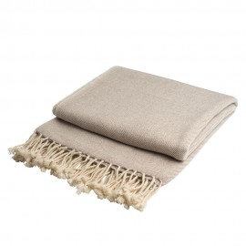Cashmere throw in white / beige melange