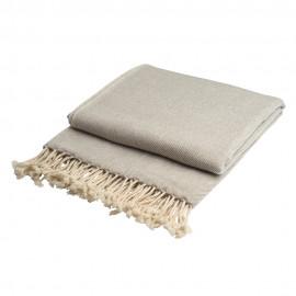 Cashmere throw in white / grey melange